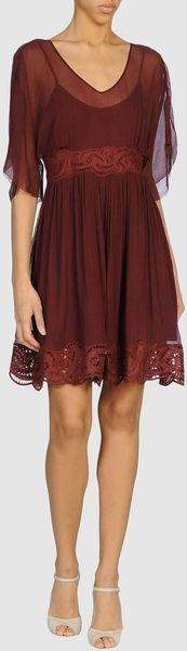 Oxblood chiffon with lace embroidery. Baby doll style. Formal bohemian dress