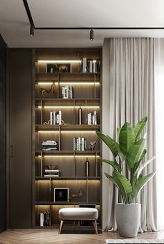 Office Interior Design, Luxury Interior, Interior Design Living Room, Modern Interior, Living Room Designs, Home Room Design, House Design, Master Bedroom Interior, Bookshelf Design