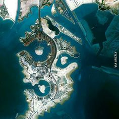 "True color, satellite image of ""The Pearl"", a man-made island near Doha, Qatar Credits: DigitalGlobe Floating Architecture, Futuristic Architecture, Dubai, Qatar Doha, Earth Photos, Jurassic Park World, Destinations, The Beautiful Country, Birds Eye View"