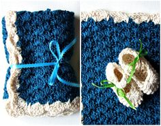 Crochet Baby Blanket and Mary Jane Booties in Silk by KingSoleil, $60.00