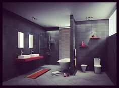 porcelain tile dark gray bathroom walls | ... To Have The Perfect Bathroom Interior Designs | Modern Bathroom Design