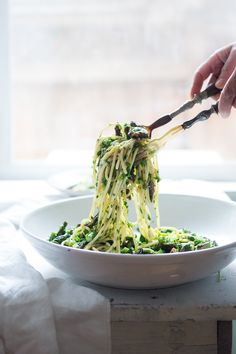 Spring Pasta Salad with Asparagus, Morels and Lemon Parsley Dressing. Zesty and flavorful, make this in 30 minutes flat! Vegan | www.feastingathome.com