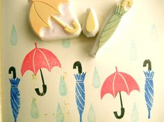 hand carved rubber stamp by talktothesun. choose from open umbrella stamp, wrapped umbrella stamp, rain drop stamp or set of 3 stamps. things around home stamp series for your spring diy crafts and block printing. Diy Stamps, Handmade Stamps, Make Your Own Stamp, Eraser Stamp, Stamp Carving, Stampinup, Tampons, Mark Making, Linocut Prints