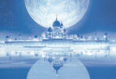 Moon Kingdom - castle, light, building, magic, anime, glow, sweet, landscape, blue, scenic, nice, scene, palace, reflection, beautiful, lovely, beauty, fantasy, scenery, sailormoon, sailor moon, pretty, house, shining, home