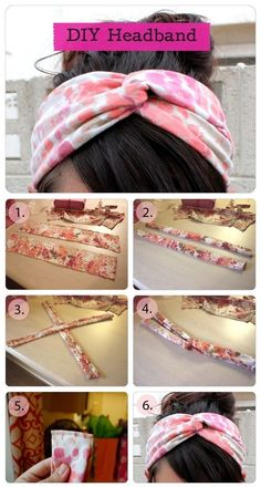 DIY Roundup: 7 Fun, Summer DIY Fashion Ideas - Pascaline Brohon - - DIY Roundup: 7 Fun, Summer DIY Fashion Ideas turban to do it yourself, easy and simple - Sewing Headbands, Fabric Headbands, Turban Headbands, Diy Headband, Twisted Headband, Hair Turban, Vintage Headbands, Fabric Bows, Sewing Projects For Beginners