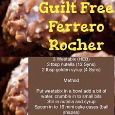 Ferrero Rocher 1 syn each syns total Slimming World Taster Ideas, Slimming World Sweets, Slimming World Puddings, Slimming World Tips, Slimming World Recipes Syn Free, Slimming Eats, Scottish Recipes, Healthy Groceries, Recipes From Heaven