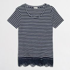 J.Crew+Factory+-+Striped+lace-hem+T-shirt