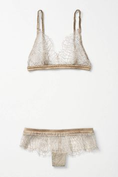 Spun Gold Bralette, gold scalloped lingerie, scalloped lace bra, scalloped lace panty, gold lingerie