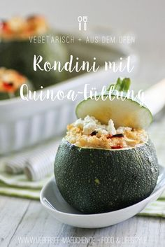 Zucchini in rund: Gefüllte Rondini mit Quinoa, Gemüse und Feta. Ein erstes Rezept mit Quinoa, vegetarisch und einfach lecker | Recipe for round zucchini filled with quinoa, vegetables and feta-cheese