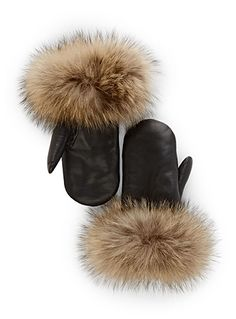 Trendy fancy touch with a delicate silky raccoon fur trim Supple and durable genuine leather Faux-sheepskin lining Long style with minimalist lines Made in Canada Fur Purse, Beadwork Designs, Fur Accessories, Mittens Pattern, Ribbon Work, Leather Projects, Leather Gloves, Fur Trim, Leather Craft