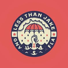"Vintage Graphic Design ""Less Than Jake"" branding by Ryan Troy Ford - Vintage Graphic Design, Graphic Design Illustration, Badges, Logo Branding, Branding Design, Circular Logo, Badge Logo, Retro Logos, Badge Design"