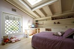 #Cameretta mansardata con travi a vista. #kidsroom #villa #brescia #dreamhome