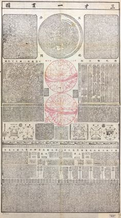 A 1722 Chinese woodblock map of the world by Lü Weifan, this astronomic map includes a table of the great dynasties of China, maps of the planets, quotes from literature, etc. *