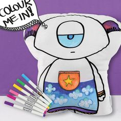 This kit contains a monster cushion with a black outlined monster illustration and a set of seven colour fabric markers.  Our friendly monster has been hand screen printed on a white cotton drill fabric.  These softie has a bright purple contrast backing with clouds & rain drops print.  Available in 3 different designs each of them with different contrast back so you can mix and match if you decide to purchase our other styles.