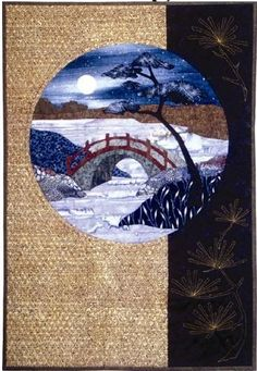 This series was inspired by the work of the century artist Ando Hiroshige, who traveled the ancient highways of Japan. He immortalized the views from 'stations' (resting areas) along the way in a Japanese Quilt Patterns, Japanese Patchwork, Star Quilt Patterns, Japanese Art, Applique Patterns, Quilting Projects, Quilting Designs, Asian Quilts, Landscape Art Quilts