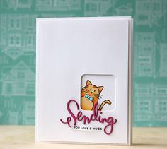 window with cat | sending die and stamp set