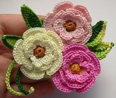 Crocheted flowers. ༺✿ƬⱤღ✿༻