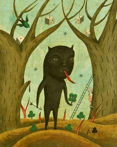 Sergio Mora MAGIC PAINTINGS: LUCKY BLACK CAT