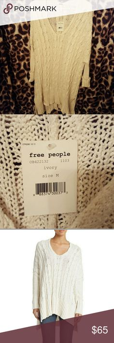 NWT Free People Cable knit tunic sweater NWT NEVER WORN Ivory cable knit v neck tunic sweater from Free People! Looks great with jeans, leggings or as a dress! Re-poshing because it is too big on me, so I'm trying to earn back what I paid for it. Excellent condition, never worn. My loss is your gain!! Free People Sweaters V-Necks