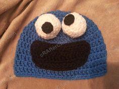 crochet cookie monster toddler baby hat, free tutorial DIY pattern, sesame street