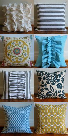 DIY throw pillows: fun ideas for interior design or sewing or even fashion...