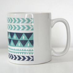 Ceramic Coffee Mug Winter Stripe Chevron by AlicePotter - Etsy