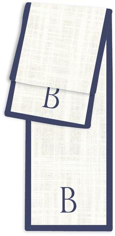 1-Letter Block Cream and Navy Monogram Table Runner
