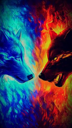Hot Offer Fire and Ice by JoJoesArt Tapestry Wall Hanging Blue and Yellow Beach Mat Animal Wolf Printed Sheets Decorative Tapestry Dark Fantasy Art, Fantasy Kunst, Fantasy Wolf, Tier Wallpaper, Wolf Wallpaper, Animal Wallpaper, Fire And Ice Wallpaper, Anime Wolf, Manga Anime