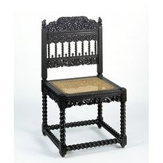 Antique Chair - made in the 1600s - Coromandel Coast, India - Hand carved and pierced ebony, with caned seat