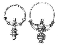 Silver zausznice (temple rings) found in vicinity of Płock, central Poland. Culture: Slavic (West Slavs). Timeline: mid 10th century
