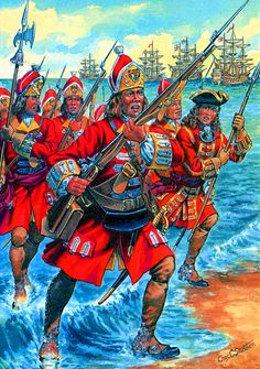 British Royal Marine Grenadiers charging ashore, Seven Years War