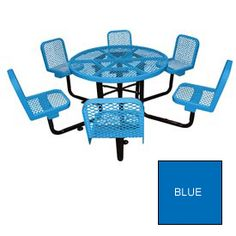 """46"""" Round Table with Chairs, Surface Mount, Expanded Metal - Blue"""