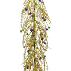 Glitter Mardi Gras Pine Ball Garland with matching wreath