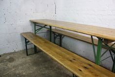 VINTAGE INDUSTRIAL GERMAN BEER TABLE BENCH SET SANDED AND WAXED GARDEN FURNITURE | eBay