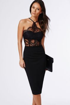 Women Dress 2015 Sexy Dresses Vestido Casual Black Halter Lace Inserted Sheer Fitted Midi Bodycon Dresses Free Shipping GY60445