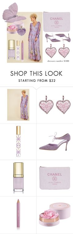 """Dress Under 100 & Modcloth maxi dress & Chanel accessories"" by zazaofcanada ❤ liked on Polyvore featuring Betsey Johnson, Tory Burch, Manolo Blahnik, Dolce&Gabbana, Estée Lauder, Lancôme, Vera Wang and vintage"