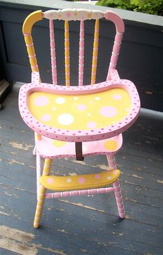 Polka Dot High Chair by omgurl at Etsy