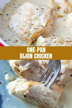 One-Pan Dijon Chicken with juicy chicken breasts in a creamy Dijon sauce is the perfect weeknight dinner. Easy to make, ready in minutes, and cooks in one pan!  #onepanrecipes #weeknightdinners #chicken #comfortfoods #dijon Recipe Using Chicken, Easy Chicken Recipes, Turkey Recipes, Dinner Recipes, Chicken Meals, Seafood Recipes, Dijon Chicken, Baked Chicken, Creamy Chicken