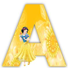 Alphabet of snow white with yellow letters. Woody Birthday Parties, Princess Theme Birthday, Disney Princess Party, Birthday Party Themes, Scrapbook Letters, Disney Alphabet, Disney Printables, Free Printables, Pinturas Disney