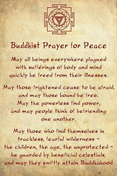 Prière Bouddhiste pour la Paix