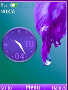 Download free Purple Dropy Clock S40 Theme Mobile Theme Nokia mobile theme. Downloads hundreds of free 5300,6300,6267,6500 classic,6555,5310,5610,6301,6500 slide,6300i,5000,5220 XpressMusic,6600 slide,6600 fold,3600 slide,6233,6234,6270,6280,6208c,6700 classic,6303 classic,2700 classic,6600i slide,2730 classic,X3,6303i classic,X2 themes to your mobile.