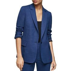 Reiss Malani Wool-Blend Tailored Blazer (12 705 UAH) ❤ liked on Polyvore featuring outerwear, jackets, blazers, bright blue, blue blazers, blazer jacket, reiss, wool blended jacket and fleece-lined jackets