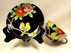 Vintage Japan Yellow Birds On Black Gold Trim Porcelain Tea Cup And Saucer