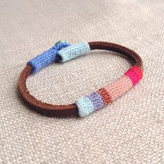 Leather & crochet cotton striped friendship bracelet by kjoo, $45.00