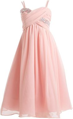 Big Girls' Wrapped Crystal Ruched Chiffon Gown Flowers Girls Dresses Blush 16 (J35K56). Classic chiffon dress for your special girl. Crystal Wrapped Ruched Bodice. Tie Sash in Back; Zipper Closure. Gown Comes with Matching Shawl. Made in USA. Great for Flower girl, Easter, Graduation and other Special Occasions.