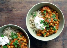 Yum, and super easy! Chickpea curry bowls. I had mine with organic cottage cheese rather than greek yogurt, and we had puy lentils and quinoa rather than rice!