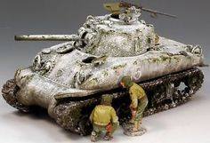 World War II U.S. Battle of the Bulge BBA026 Wounded Sherman Tank set - Made by King and Country Military Miniatures and Models. Factory made, hand assembled, painted and boxed in a padded decorative box. Excellent gift for the enthusiast.