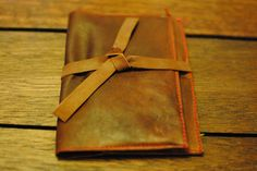 Handmade leather wallet finished with Otter Wax