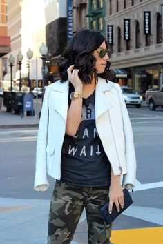 slightly obsessed with all things camo right now: Camo pants with blazer