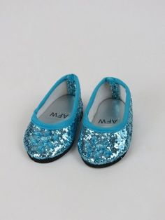 "Royal Blue Glitter Slip On Dress Shoes made for 18/"" American Girl Doll Clothes"